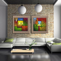 Green woods linen paintings with frame home decoration oil painting by hand scenery pictures wall art