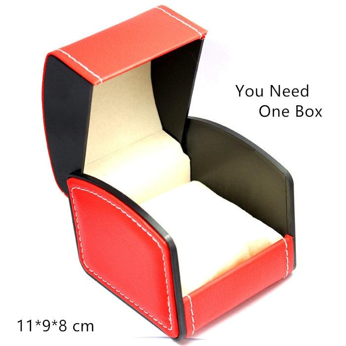 Vrhunska usnjena blagovna znamka, škatla za eno uro, rdeča škatla za shranjevanje, modna ura in zapestnica, darilne škatle primerov W007