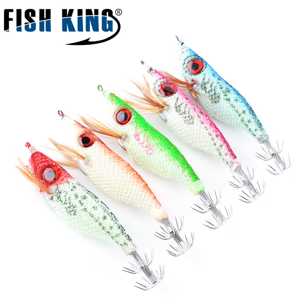 FISH KING 5PCS/lot 5 color 10cm 8g Big  Eyes Light Wood Shrimp Squaid Lure Jigs Lures Squid Jigs Hook Mixed squid lure 1 pcs deli big fish