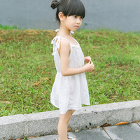 2017 Lady style Thin cotton/linen hollow children Suspender dress Baby Girl Summer Casual daily dress Birthday Baby Clothes