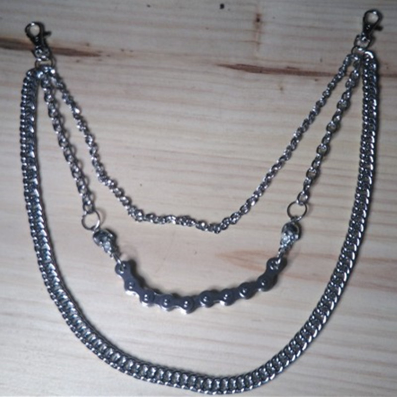 54CM Iron Metal Silver Color Bicycle Skull Chain Multilayer Male Pants Chain Punk Rock Jeans Chain Handmade