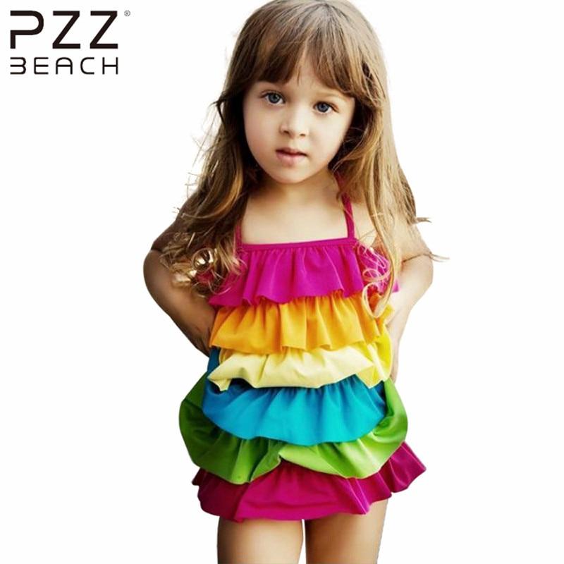 2016 New Pretty Summer Split One Piece Swimsuit Children's Swimwear Ruffled Girls Bikini Rainbow Print Bathing Suits Beachwear