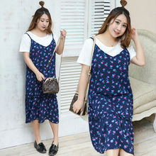 Vagary Plus Size Contrast Summer Dress Women Sexy Floral Chiffon Cami Dresses With Insert Tee New Short Sleeve Casual Dress
