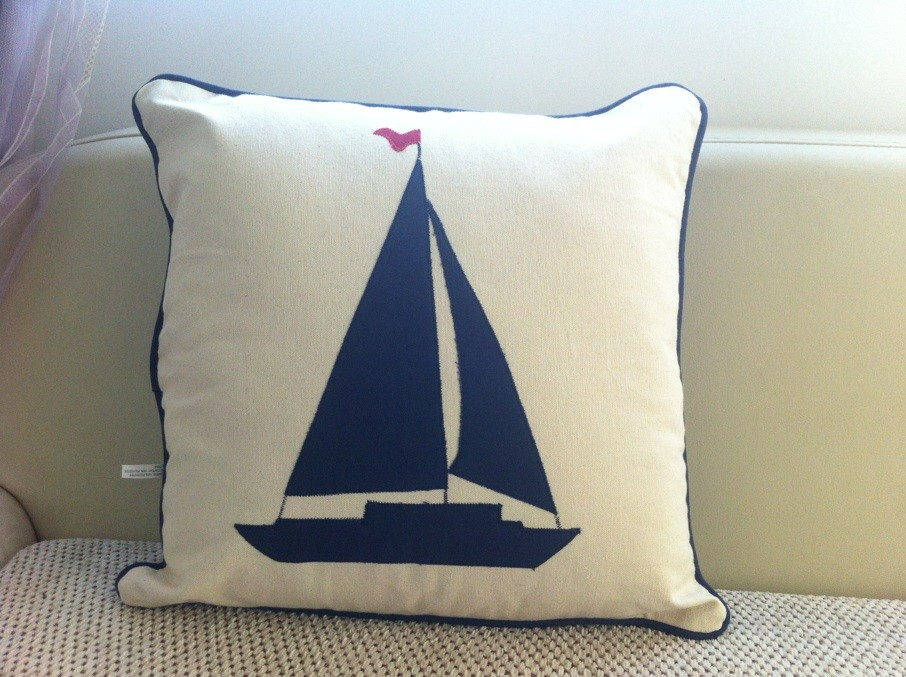 whole sale,Cushion pillow ocean series pillow cushion sailing boat pattern canvas pillow