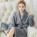 2017 Algodão Roupão De Banho Feminino Masculino Coral Fleece Camisola Vestido de Noite Kimono Robes Longos Para Mulheres Homens Sleepwear Salão