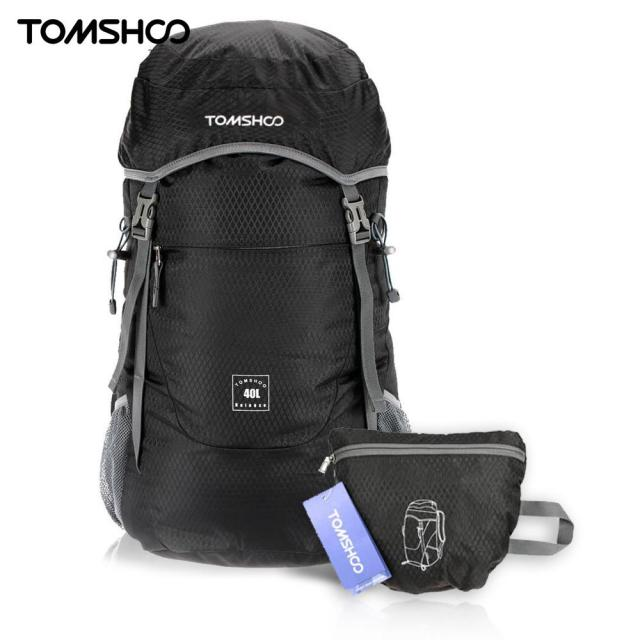 TOMSHOO Outdoor Backpack 40L Ultra Lightweight Water-resistant Nylon  Outdoor Backpack Travel Trekking Foldable Bag 8c227ec071