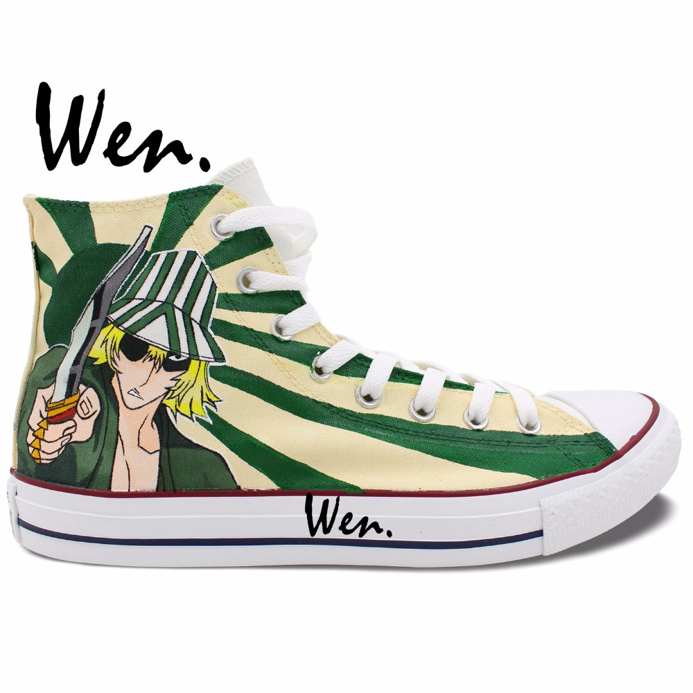 Wen Anime Hand Painted Sneakers Design Custom Bleach Urahara Kisuke Man  Woman s High Top Custom Canvas Shoes for Christmas Gifts 660648cab8b7