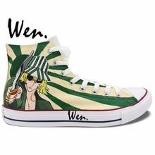Wen Anime Hand Painted Sneakers Design Custom Bleach Urahara Kisuke Man Woman's High Top Custom Canvas Shoes for Christmas Gifts