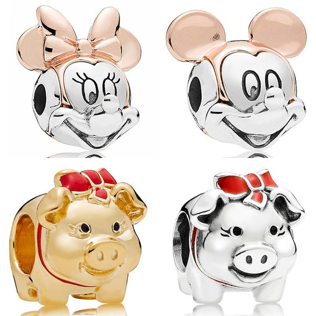 94c634d37 Rose Gold Two-tone Mickey & Minnie Portrait Shine Piggy Bank Charms Fit  Pandora Bracelet 925 Sterling Silver Bead Diy Jewelry