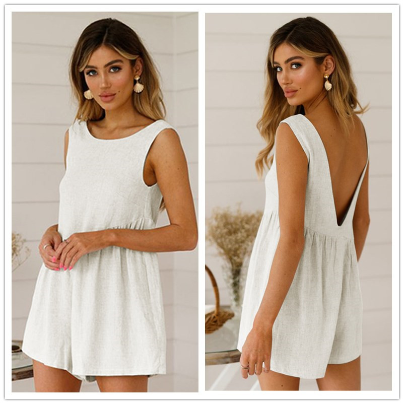 Sexy Backless Loose Women Playsuit 2019 Summer Solid Casual O Neck Pleated Cotton Sleeveless Jumpsuit   Romper   Female Big Size XXL