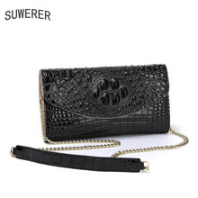2019 New Superior cowhide genuine leather clutch bag women handbag Embossed crocodile pattern Fashion butterf luxury leather bag цена