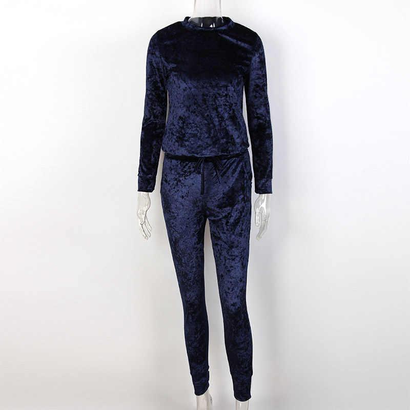 455daf904d 2018 Sexy Women Winter Velvet Suit 2 Piece Tracksuit Set Spring Pink ...