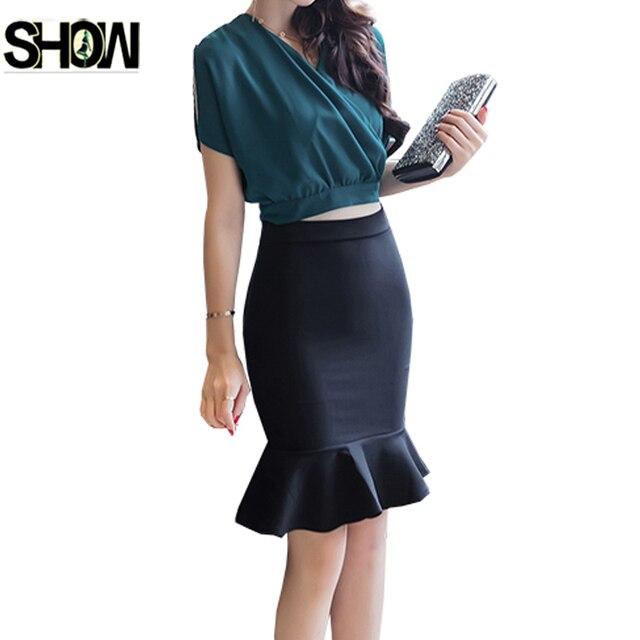 b9c8e907a5 Oficina Faldas nuevas mujeres del estilo coreano de la manera del desgaste  del trabajo del verano