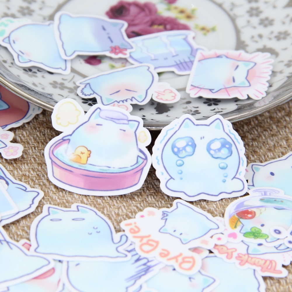 40 pcs / set cute blue elf face book account scrapbooking bubble buoy stickers stickers kawaii expression childrens toys