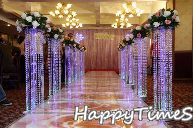 6pcslot Wedding Crystal Pillar With Acrylic Bead Wedding Road Lead Stand With LED Lightin