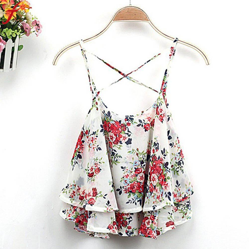 100% Wahr Frauen Floral Print Tank Top 2018 Sommer Spaghetti Strap Crop Tops Frauen Ärmel Zurück Kreuz Tops Sommer Beachwear Tops Weich Und Leicht
