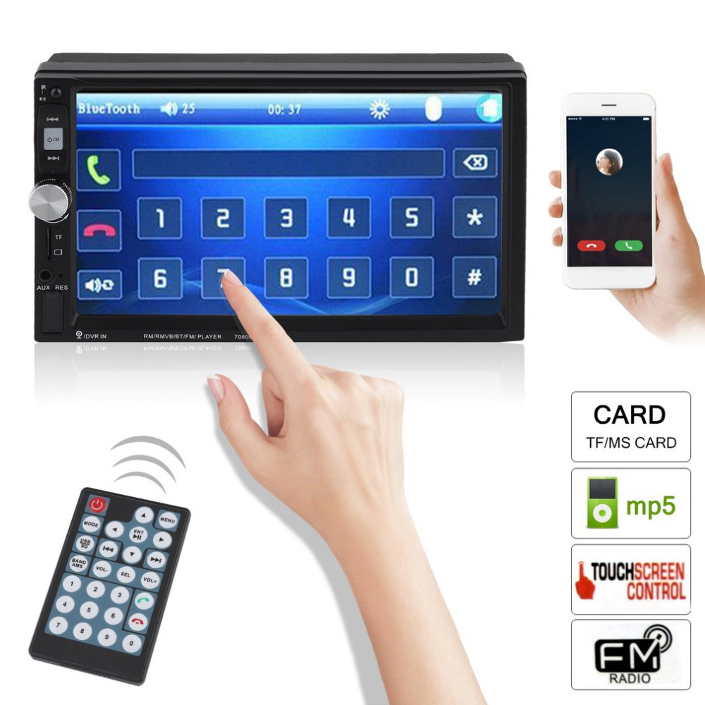 7 Inch Multimedia HD Bluetooth Touch Screen LCD Monitor Double Din Car Stereo Radio MP5 MP3 FM Player Rear View Camera new 7018b 7 inch lcd hd double din car in dash touch screen bluetooth car stereo fm mp3 mp5 radio player 12v 1 4 cmos camera