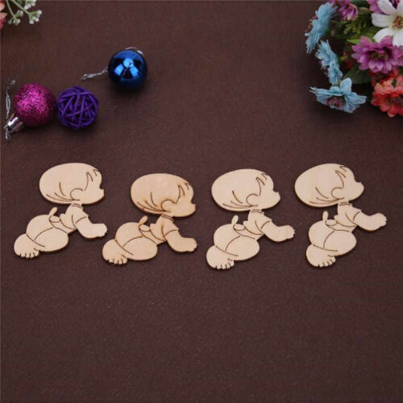 10pcs Wooden Laser Cut MDF Cute Baby Shape Craft Wedding Guestbook  Decoupage Family Christmas Home Wall Decorations Wood Crafts