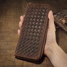 Men Crazy Horse Leather Zipper Clutch Vintage Genuine Leather Long Bifold Wallet Large Capacity Weave Organizer Purse 1020-3