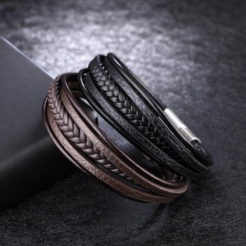 Купить многоуровневый браслет из нержавеющей стали с пряжкой коричневый