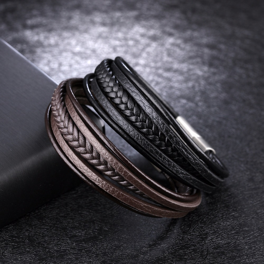 Stainless Steel Multiple Layers Buckle Brown Black Leather Bracelet Men Charm Sporty Boy Bangles Bracelets For Women Jewelry
