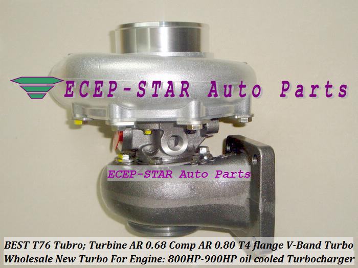 Turbocharger Turbo only oil cooled T76 Turbine AR 0.68 Comp AR 0.80 800HP-900HP T4 Turbo charger T4 flange V-Band (3)