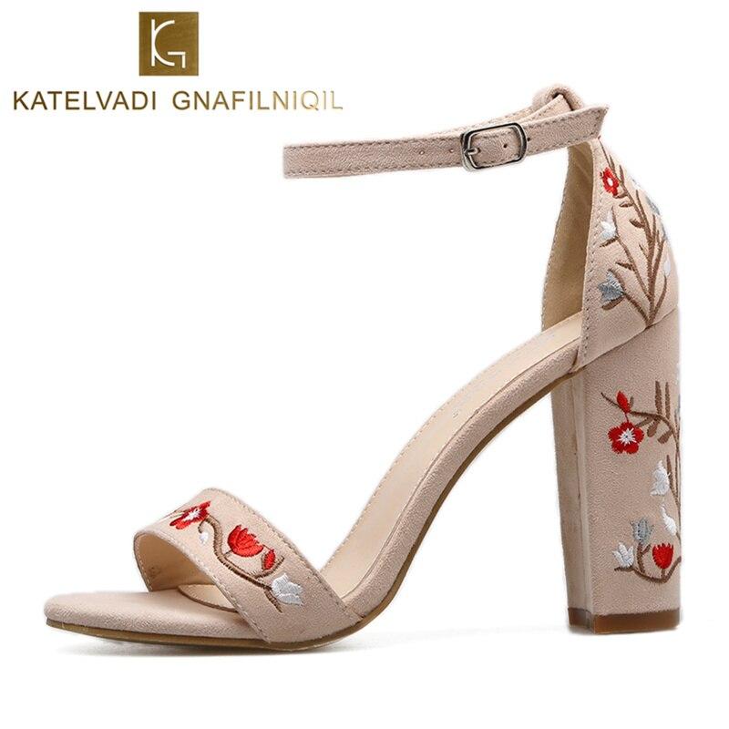 2018 Sexy Women Sandals Open Toe Embroidery Square Heels Summer Classic Gladiator Platform Sandals Women Shoes High Heels K-108