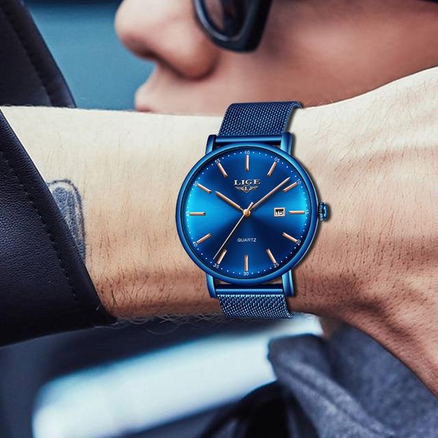 Купить lige мужские часы лучший бренд класса люкс спортивные ультратонкие картинки цена