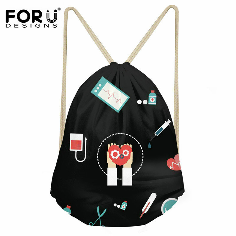 FORUDESIGNS Nurse Black Pattern Women Casual Drawstring Bag Fashion Polyster Small Backpack Sack Girls Daily Use Cinch Bags 2020