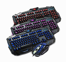 DIY luminous Three colours backlight gaming laptop keyboard mouse combos backlit waterproof multimedia keyboard delicate mice go well with