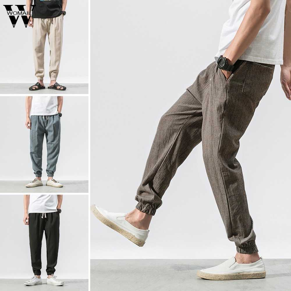 Mens Pants Vintage Casual Linen Pant Solid Outdoor Baggy Harem Pants Jogger Pants Male Elastic Waist loose Sports Pants 2019 J75