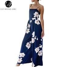 Лили Rosie девушка Темно-синие Цветочный принт спинки Комбинезоны Для женщин ремень с плеча летние пляжные пикантным бантиком комбинезон