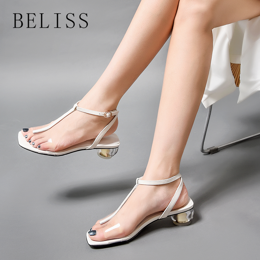 BELISS summer women sandals leather transparent sexy gladiator sandals women buckle strap chunky heel fashion ladies