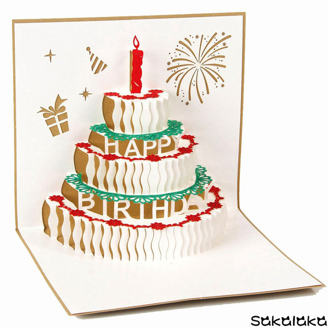 Creative Exquisite Handmade Happy Birthday 3D Greeting Card Lovely Cake Cards