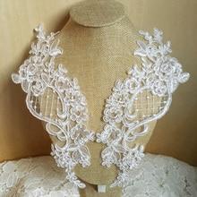 2 piezas blanco rojo Aplique de encaje color azul Flor de tela de encaje para decoración para accesorios de prendas de vestir cosido en tela artesanía para traje
