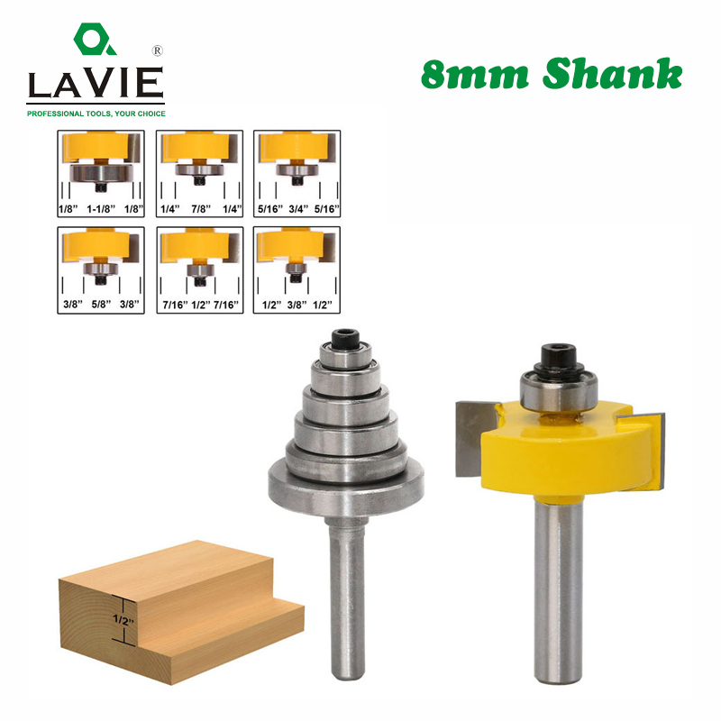LAVIE 2PCS 8mm Shank Rabbet Router Bit With 6 Adjustable Bearings Tenon Milling Cutter Cemented Carbide Woodworking Bits MC02049