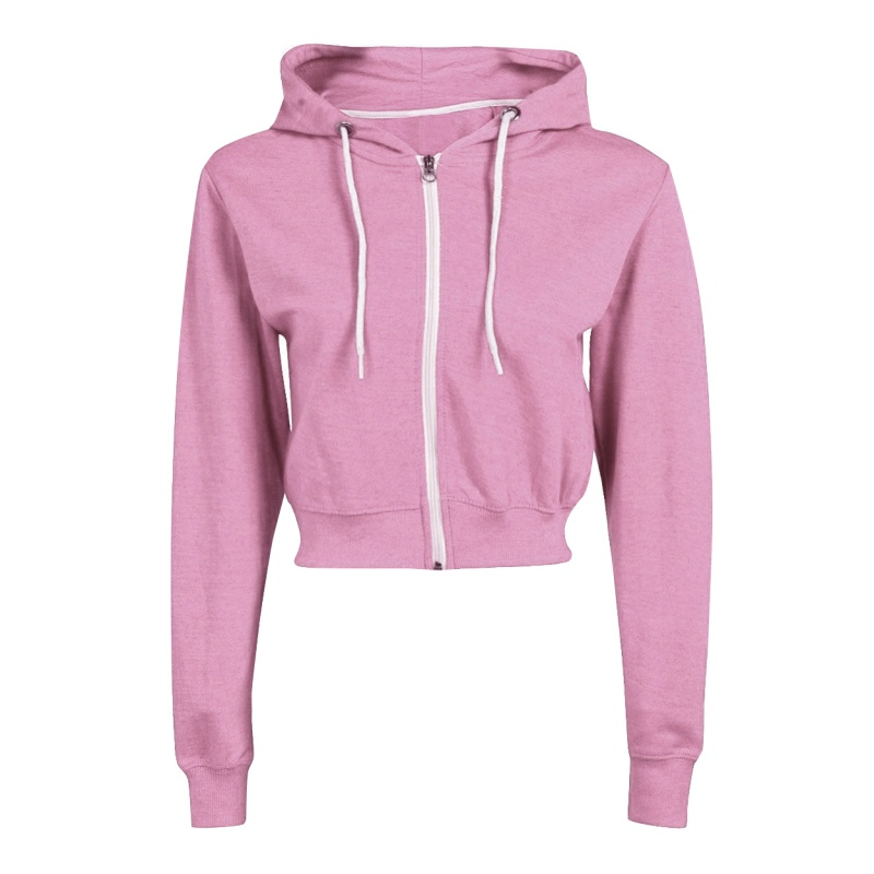 Crop Top Hoodies Women Long Sleeve Sweatshirts Drawstring Zip Up Fashion Hoodie Streetwear Black White Grey Pink Hoodie Female