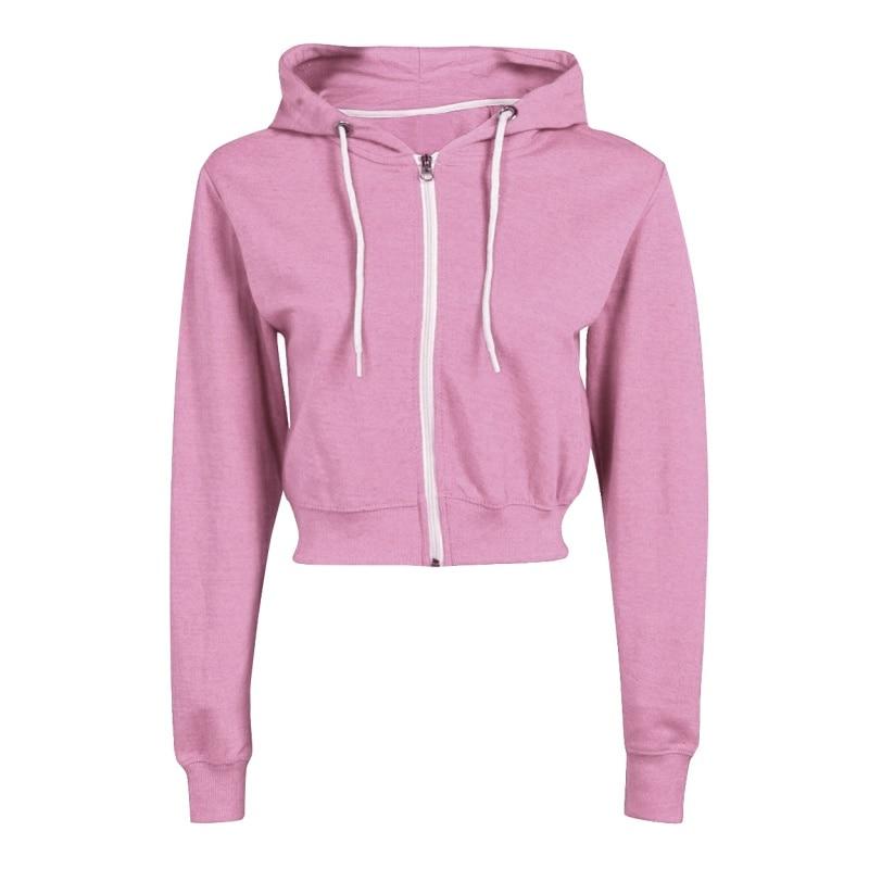 Crop Top Hoodies Women Long Sleeve Sweatshirts Drawstring Zip Up Fashion Hoodie Streetwear Black White Grey Pink Hoodie Female