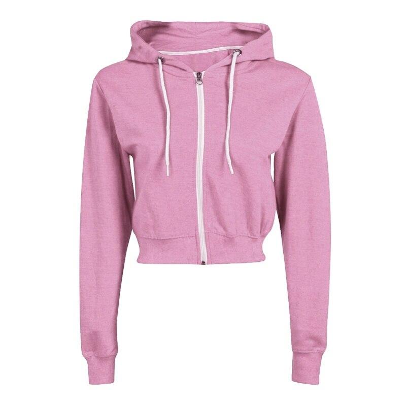 Moletom com capuz de manga comprida com cordão zip up moda moletom com capuz streetwear preto branco cinza rosa feminino