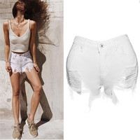 New Style Women Sexy Ripped Jeans Denim Shorts Worn Loose Shorts Pants Sexy Fashion Hot Personality Simple Style Wolovey#25