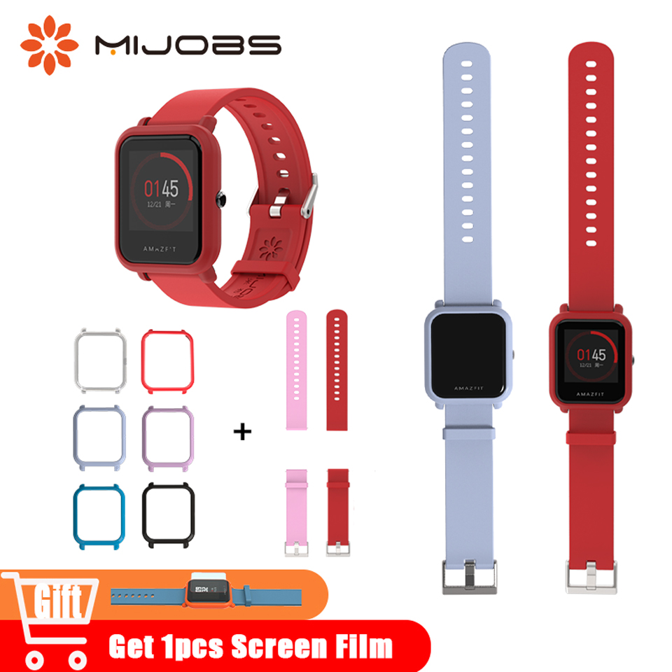 Mijobs 20mm Sports Wrist Strap Protective Case Cover For Xiaomi Huami Amazfit Bip BIT Accessories Smart Watch Silicone Bracelets