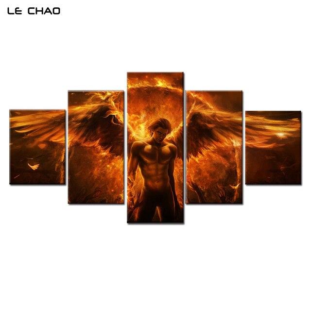 Wohnzimmer bilder leinwand  LE CHAO Leinwand Malerei Teufel Engel Wandkunst Leinwand Malerei ...