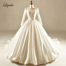 Glamorous Satin Backless Neckline Ball Gown Wedding Dress Embroidery Appliques  Court Train Ball Gown Bridal Dress