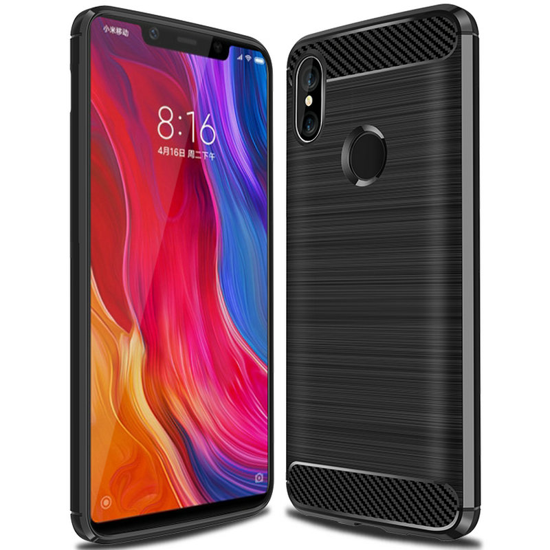 100pcs/lot Soft Carbon Fiber Brushed Slim Stripe Anti-knock Armor Case For Xiaomi Redmi 6 Redmi 6a Mi 8 Mi 8 Se