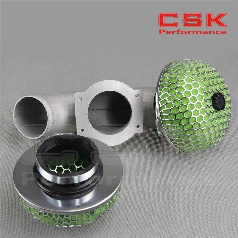 Двойной трубопровод воздухозаборника Твин турбо W/2X фильтр для NISSAN 300ZX VG30DETT Z32 зеленый