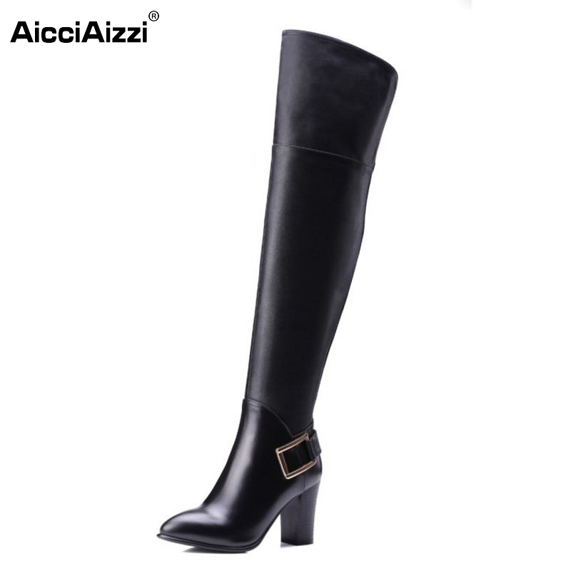 Women Real Leather Over The Knee Boots Winter Snow Boots Sexy High Heel Fashion Zipper Women Riding Boots Women Shoes Size 34-39 2017 sexy thick bottom women s over the knee snow boots leather fashion ladies winter flats shoes woman thigh high long boots