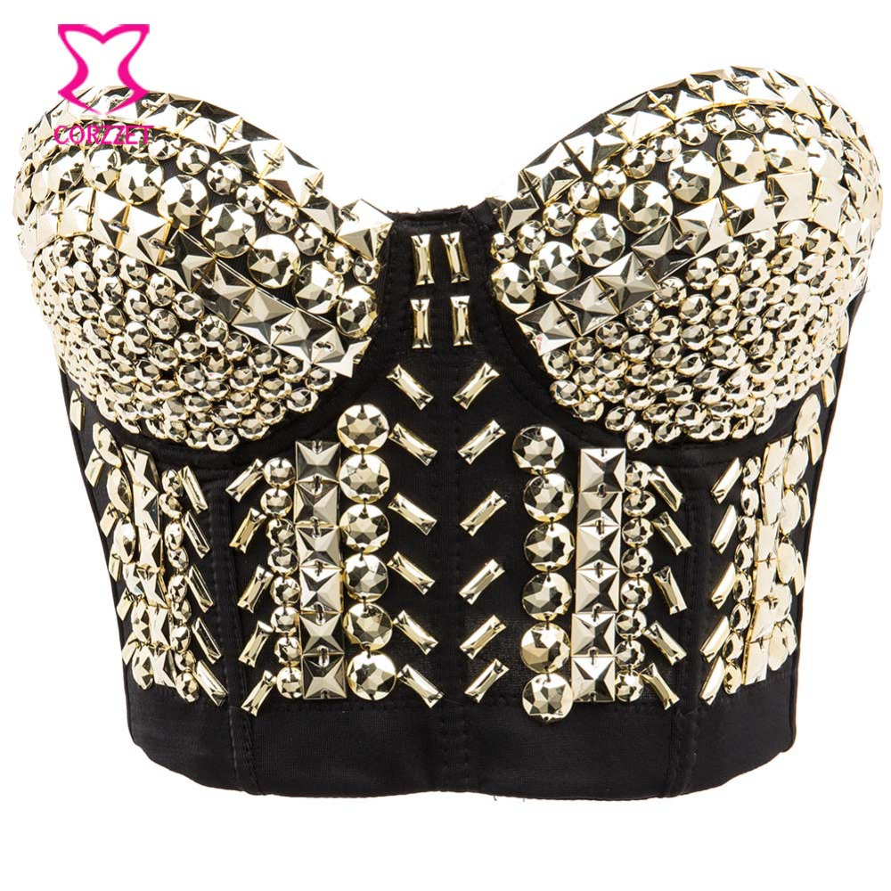 Club Rock Belly Dancewear Gold Resin Gems Beading Bralette Crop Top Sujetador Push Up Bra Bustier Sexy Underwear Bras For Women