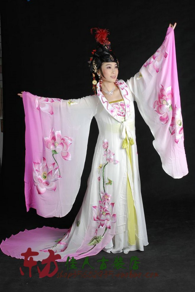 Unisexual Lotus in Pond under Moon Beauty Paint Transit Color Performance Stage Costume Li Yugang Cross-gender Cosplay Clothes