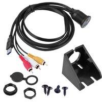 2 M Araba Dashboard Gömme Montaj Paneli 3RCA için USB 3.0 3.5mm Ses Uzatma Kablosu Yüksek Hız USB3.0 Uzatma kurşun Kordon