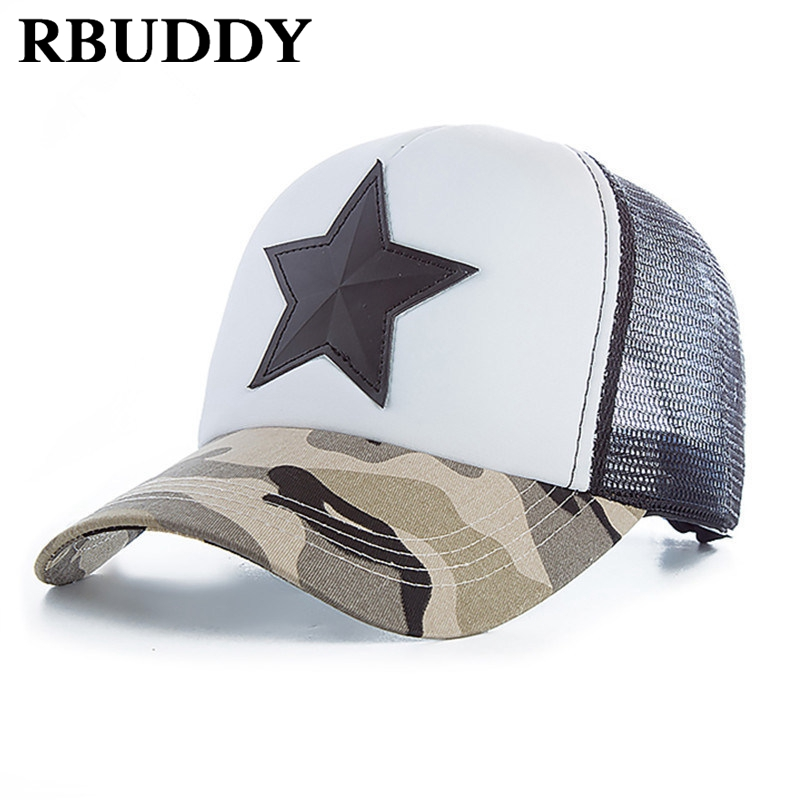 RBUDDY 3D Five-pointed Star Embroidery Mesh Camo Baseball Cap Hip Hop Streetwear Fashion Snapback Camouflage Summer Hat Cap climate new popular chance the rapper 3 hat cap black 3d embroidery baseball cap hip hop streetwear strapback snapback sun hat